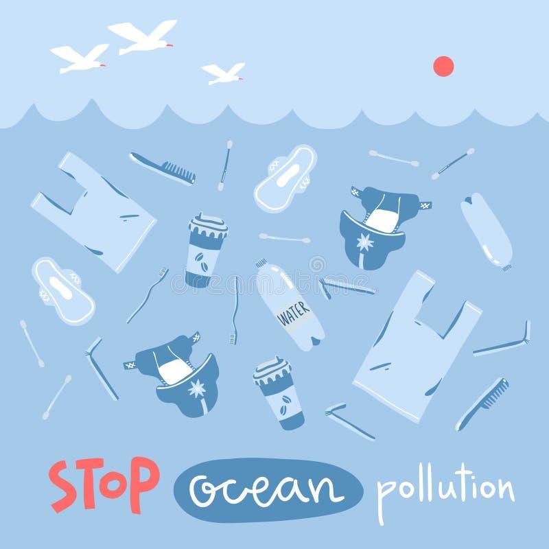 传染媒介与手拉的污染元素的概念例证在海 是绿色,停止海洋污染 库存例证