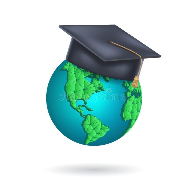传染媒介与毕业盖帽的地球地球 全球性学会,国际学生交换节目的概念,学习海外 皇族释放例证