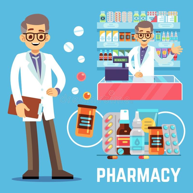 传染媒介与男性药剂师、维生素和药物的药房元素 库存例证