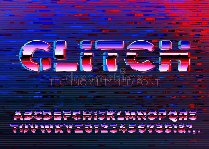 传染媒介与畸变的gliched techno字体 库存例证