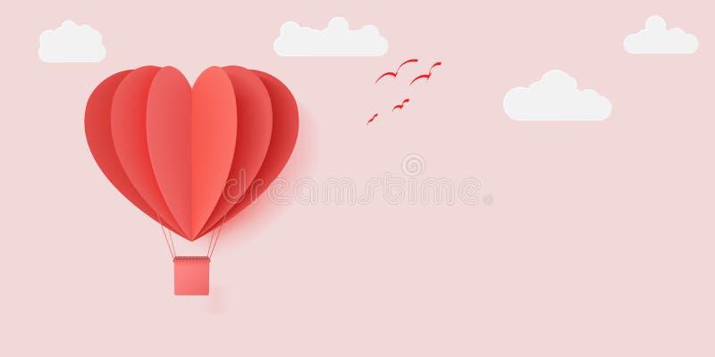 传染媒介与纸被切开的红心形状origami的例证设计做了飞行与白色云彩的热空气气球 向量例证