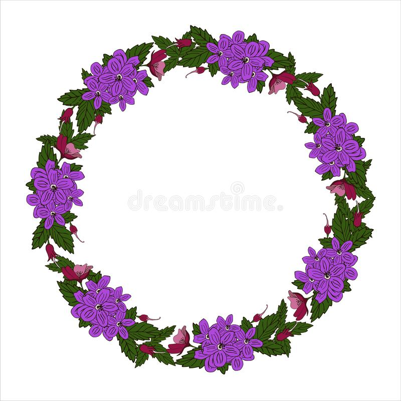 传染媒介与花卉花圈的贺卡 生日贺卡、生日和其他假日 r 向量例证
