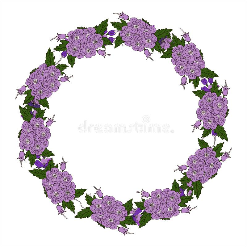 传染媒介与花卉花圈的贺卡 生日贺卡、生日和其他假日 r 库存例证