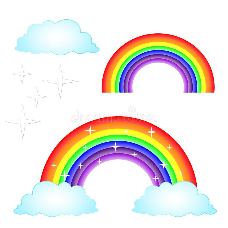 传染媒介与被设置的云彩的例证彩虹 向量例证