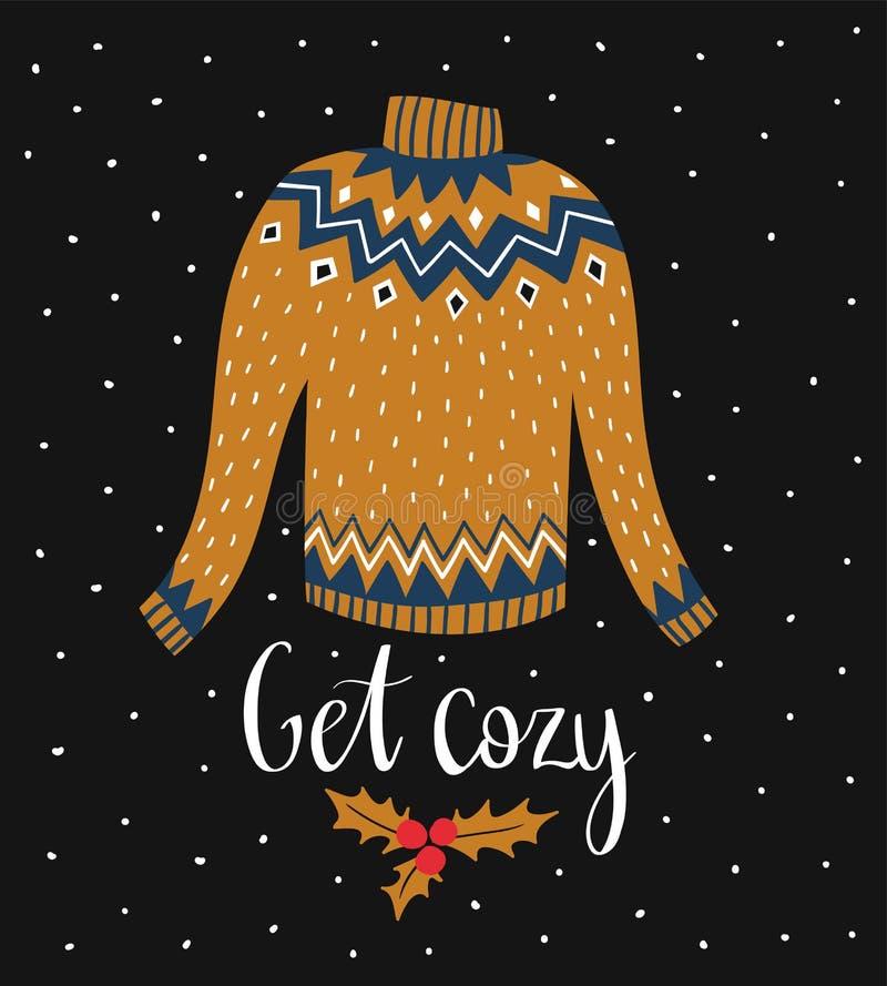 传染媒介与装饰圣诞节毛线衣和字法的冬天卡片- `得到舒适` 背景上色节假日红色黄色 向量例证