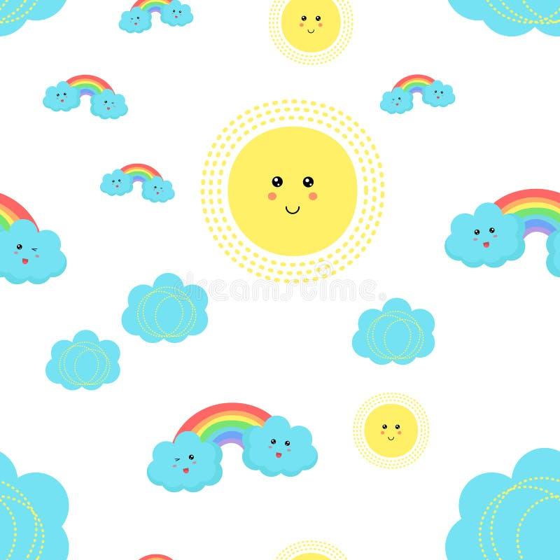 传染媒介与逗人喜爱的云彩、太阳、彩虹和星的孩子样式 向量例证
