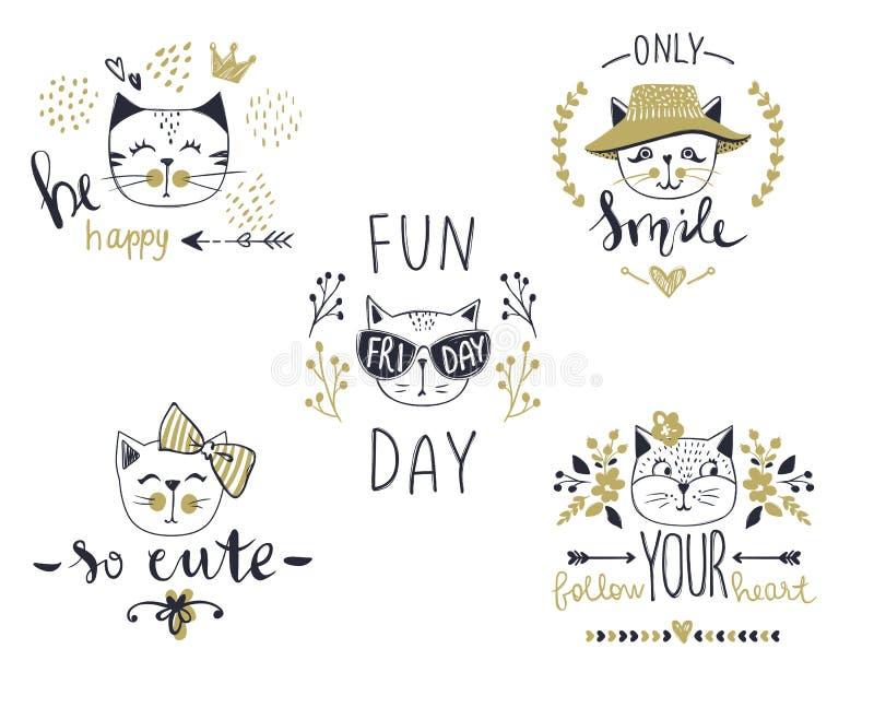 传染媒介与逗人喜爱的时尚猫的卡片系列 图库摄影