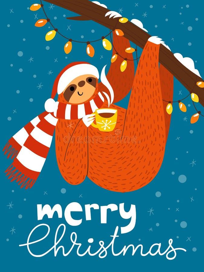 传染媒介与逗人喜爱的滑稽的怠惰的圣诞快乐卡片与咖啡杯 库存例证