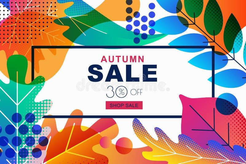 媒介与颜色梯度秋天秋叶的销售横幅 设计海报的,折扣标签,飞行物模板.