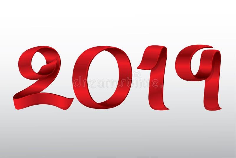 传染媒介丝带新年2019年 免版税图库摄影