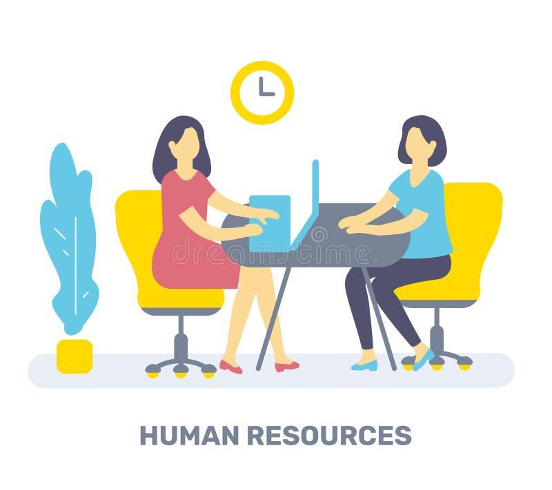 传染媒介两妇女的彩色插图在桌上坐c 向量例证