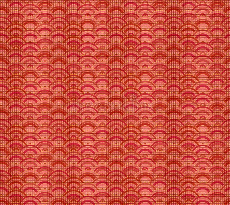 传染媒介中国样式,无缝的背景,亚麻制红色纺织品 库存例证