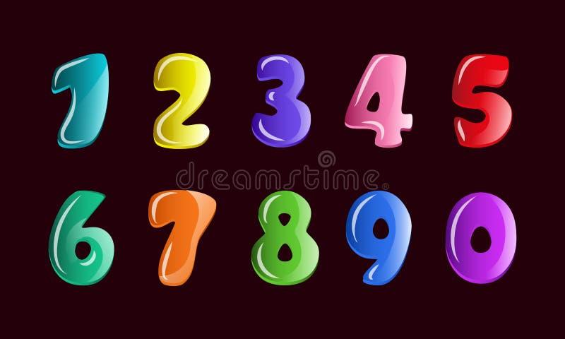 传染媒介为在动画片样式的孩子形象设置了 泡影孩子的婴孩字体,手凹道五颜六色的数字 向量例证