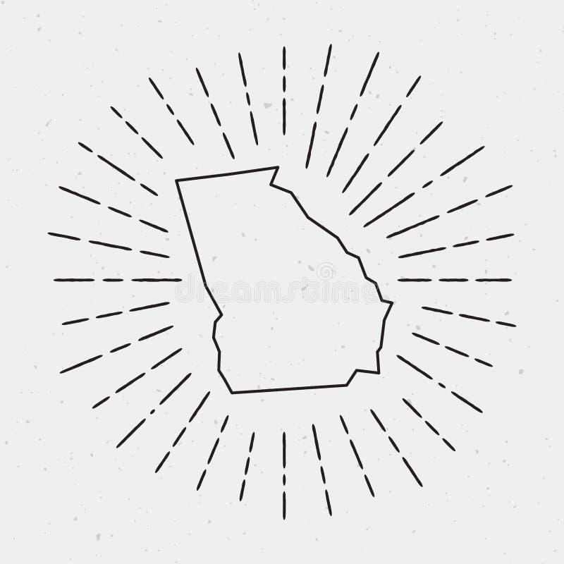 传染媒介乔治亚与减速火箭的旭日形首饰的地图概述 皇族释放例证