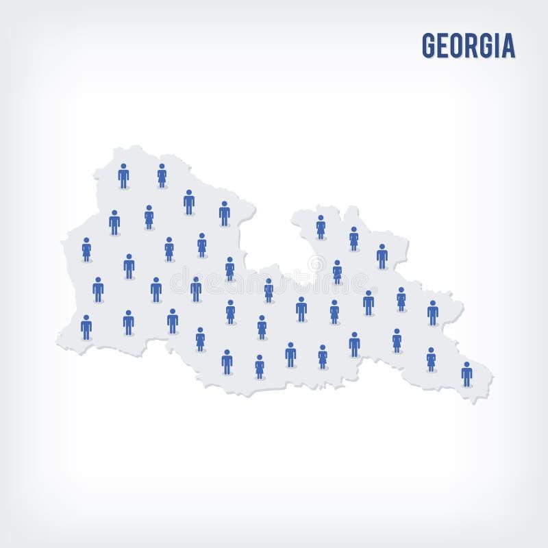 传染媒介乔治亚人地图  人口的概念 向量例证