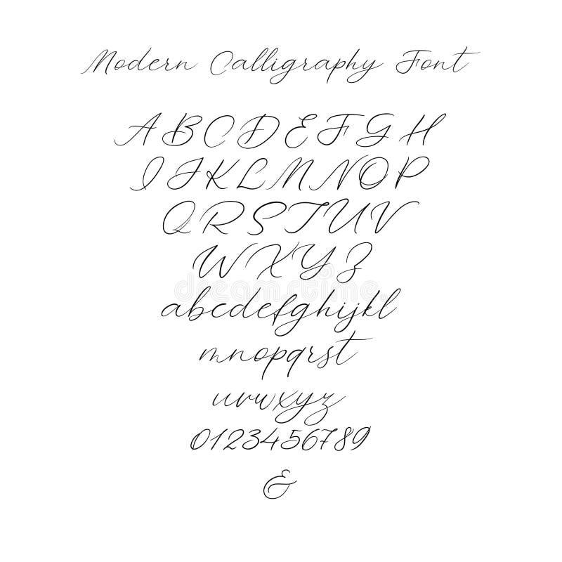 传染媒介书法字母表 专属信件 婚姻的组合图案的,商标,邀请装饰手写的刷子字体 皇族释放例证