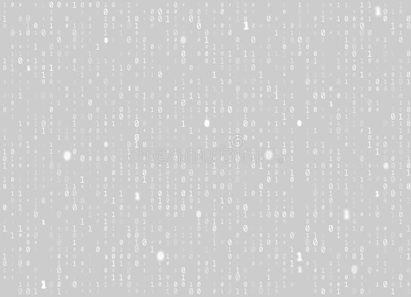 传染媒介二进制编码灰色无缝的背景 大数据和编程的乱砍,解密和加密,放出白色的计算机 皇族释放例证