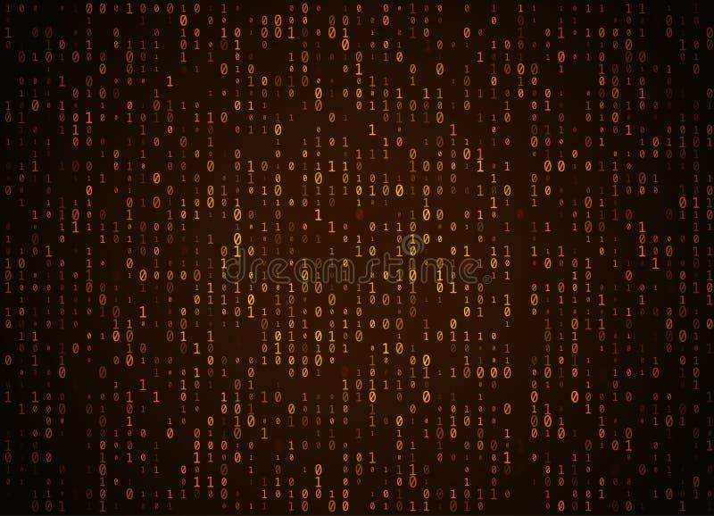 传染媒介二进制编码金黄背景 大数据和编程的乱砍,深刻的解密和加密,放出数字的计算机 皇族释放例证