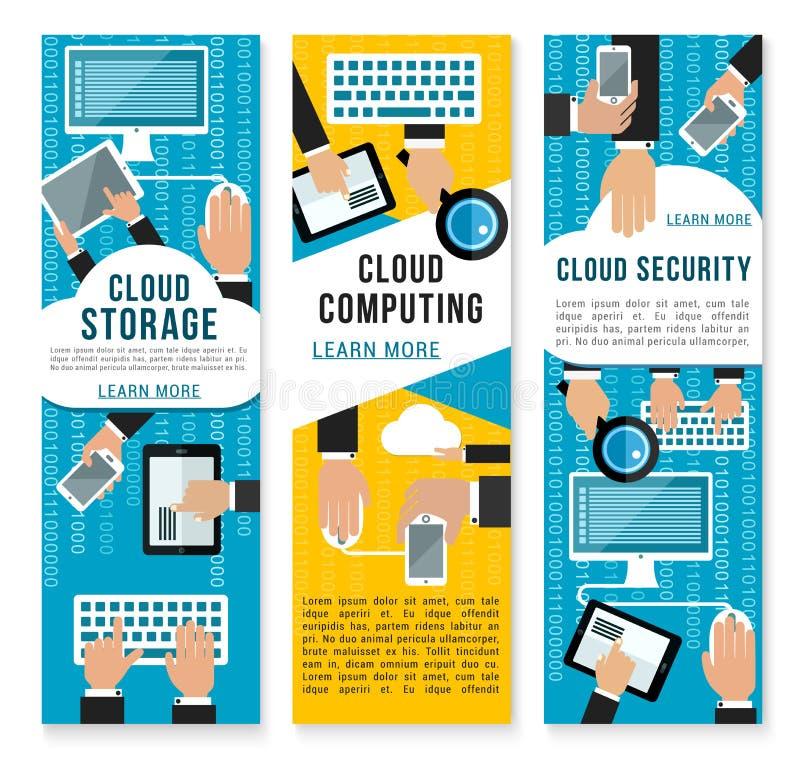 传染媒介云彩互联网技术横幅 向量例证
