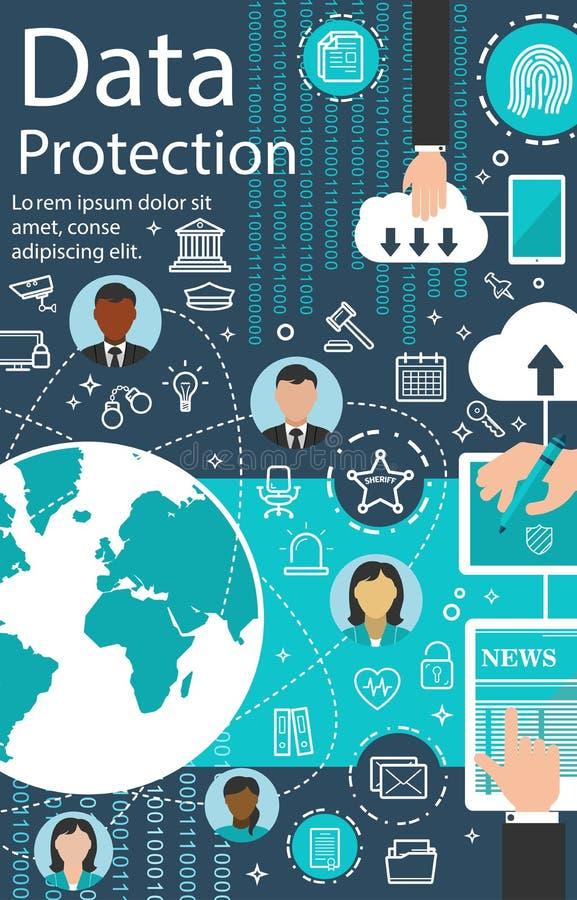 传染媒介互联网数据保护技术海报 向量例证
