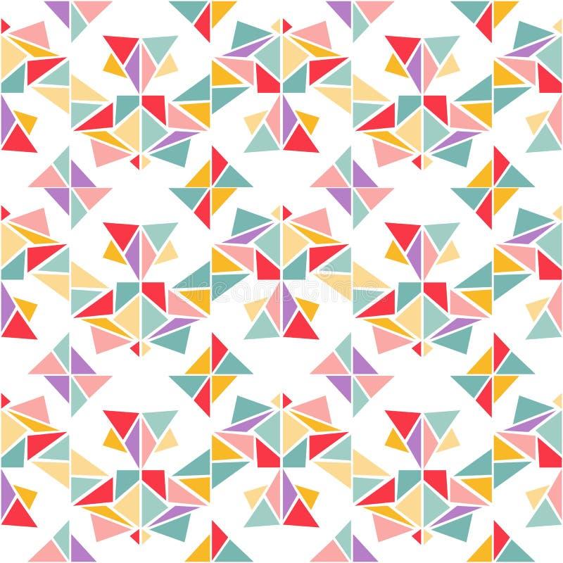传染媒介五颜六色的几何无缝的样式 与三角的抽象背景 库存例证