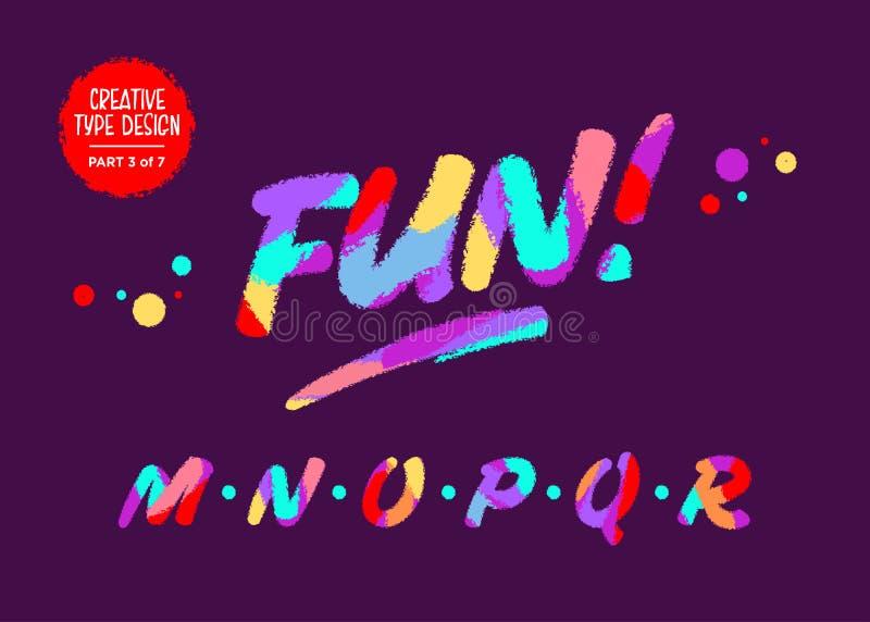 传染媒介五颜六色的印刷术 在动画片样式的类型设计 滑稽的织地不很细字体 与蜡笔作用的逗人喜 库存例证