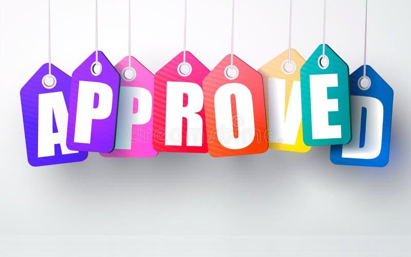 传染媒介五颜六色的垂悬的纸板 被批准的标记 也corel凹道例证向量 皇族释放例证