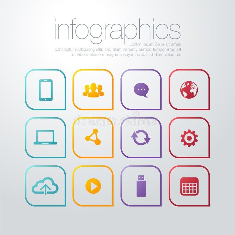 传染媒介五颜六色的平的稀薄的线象现代设计样式、套seo服务标志,网站搜索引擎、网逻辑分析方法和int 库存例证