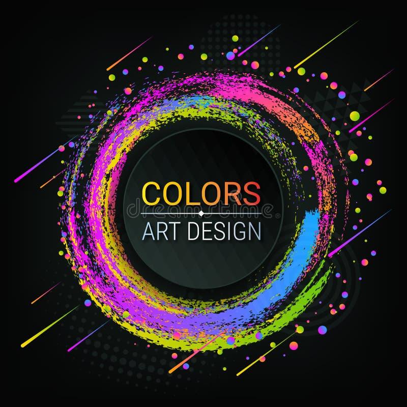 传染媒介五颜六色的横幅 明亮的色的刷子冲程 五颜六色的抽象圈子 Grunge纹理 粉笔 可能 库存例证