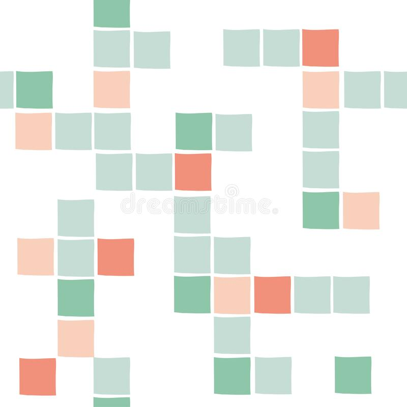 传染媒介五颜六色的正方形无缝的样式 库存例证
