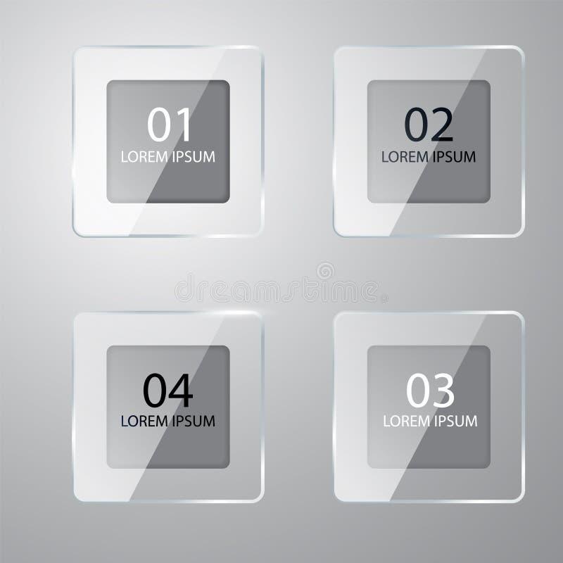 传染媒介五颜六色的玻璃横幅 有编号的玻璃板 您的企业介绍的模板 透明标签 库存例证