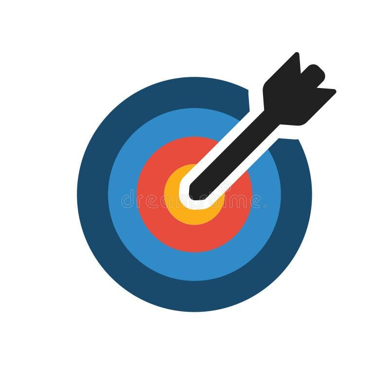 传染媒介五颜六色的目标象 与箭头的目标在空白的背景 皇族释放例证