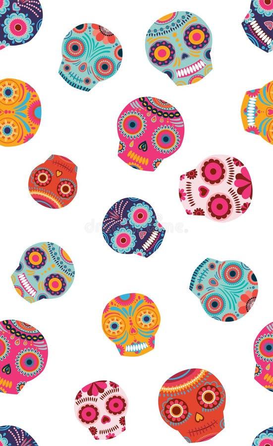 传染媒介五颜六色的糖头骨无缝的样式背景 皇族释放例证