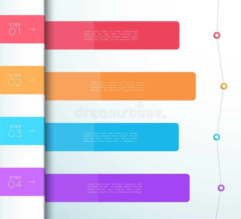 传染媒介五颜六色的4步名单Infographic图 库存例证