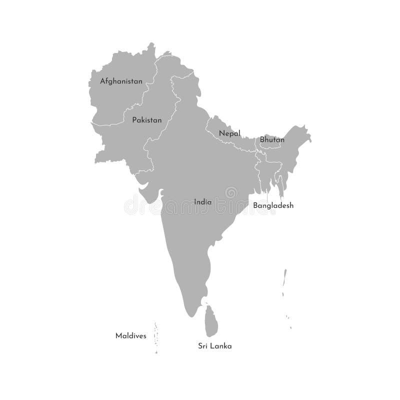 传染媒介亚洲国家例证地图  南地区 阿富汗,巴基斯坦,印度,马尔代夫,尼泊尔的国家边界 库存例证