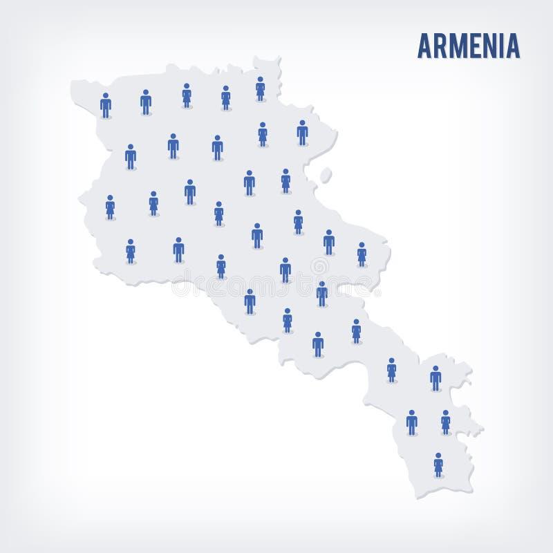传染媒介亚美尼亚的人地图 人口的概念 皇族释放例证