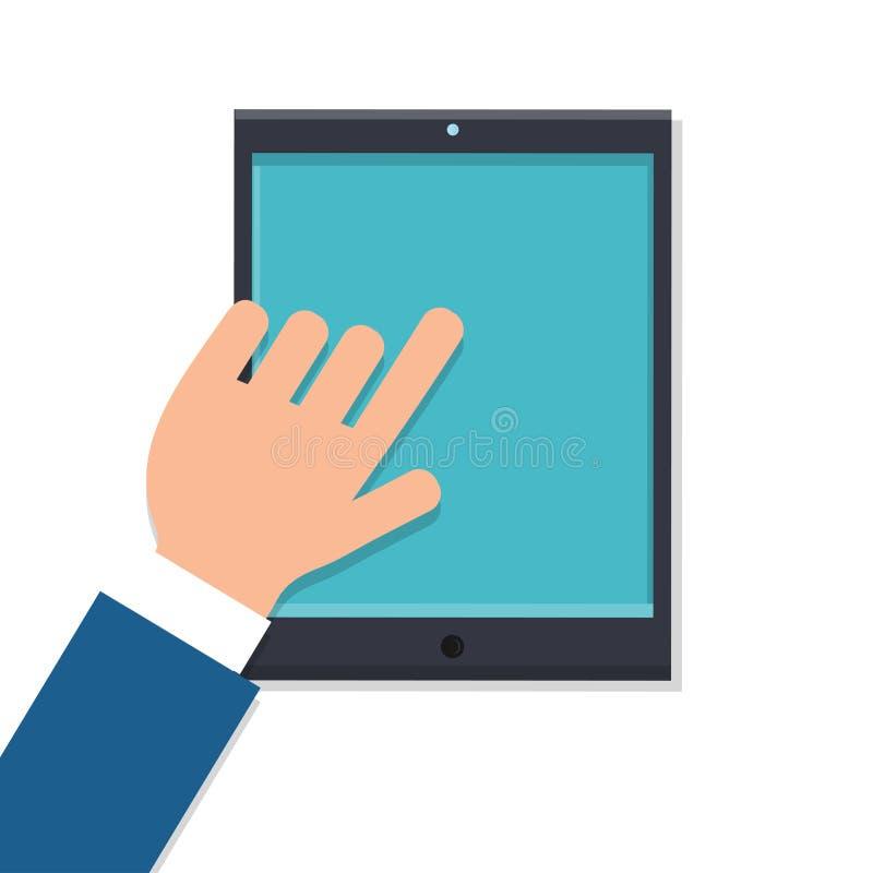 传染媒介人商人与他的手指一起使用在有在白色背景上面隔绝的现代数字巧妙的片剂的工作场所 库存例证