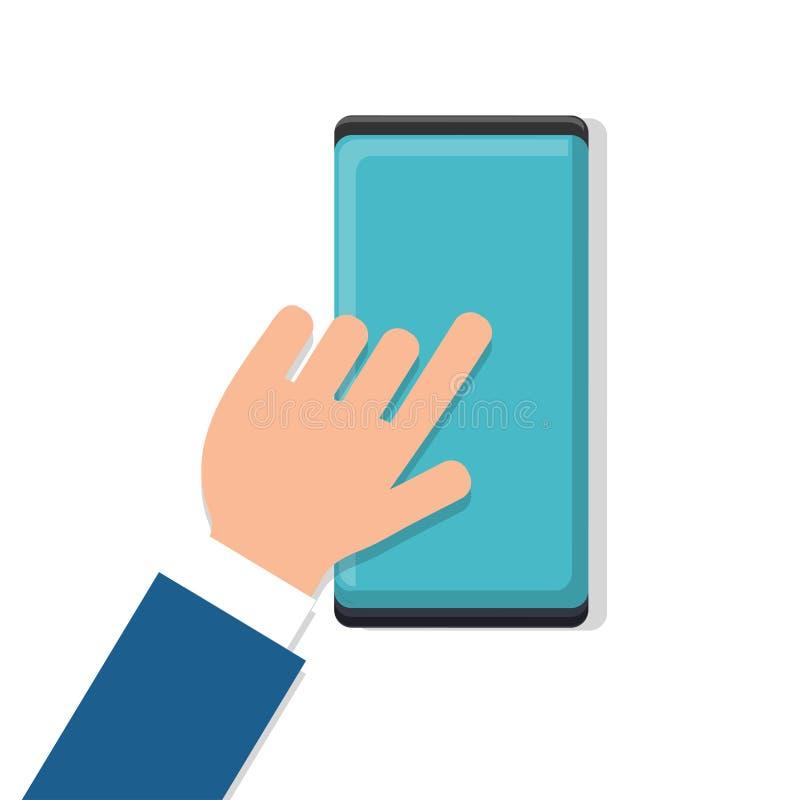 传染媒介人商人与他的手指一起使用在有现代数字巧妙的手机智能手机的工作场所隔绝了 向量例证