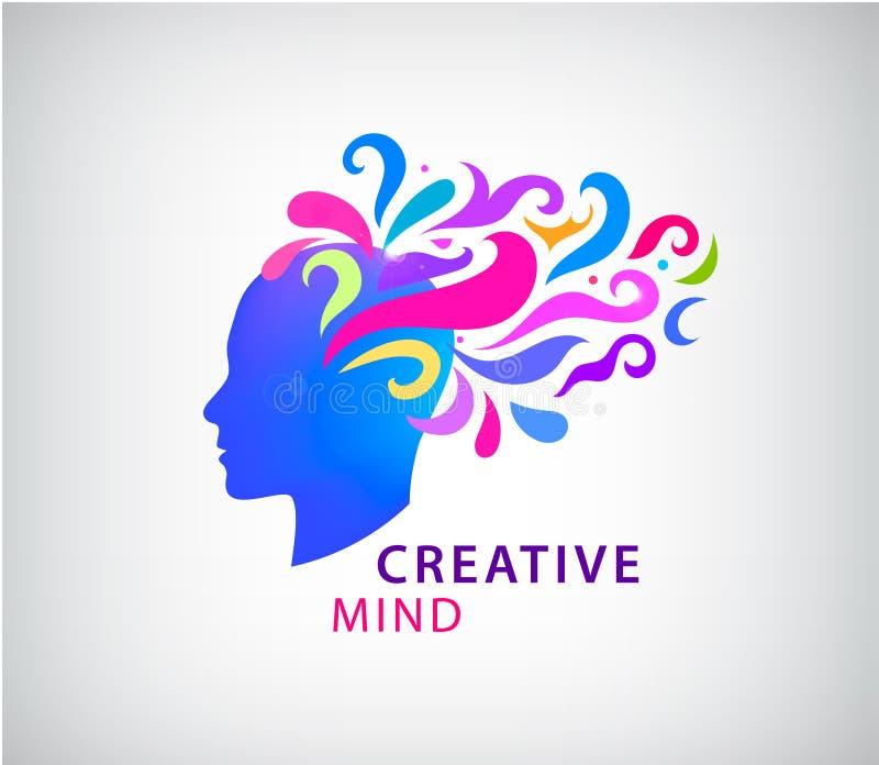 传染媒介人头商标概念例证 学会象 创造性的头脑,想象力,想法,激发灵感,脑子 皇族释放例证