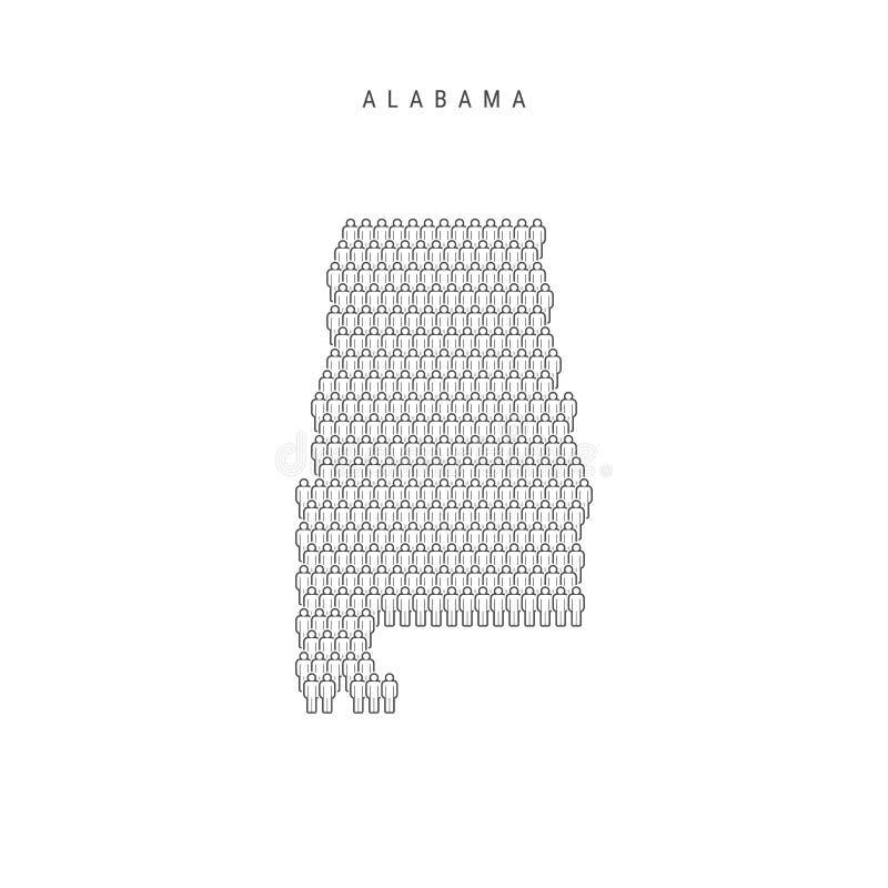 传染媒介人映射阿拉巴马,美国各州 被传统化的剪影,人们拥挤 阿拉巴马人口 库存例证