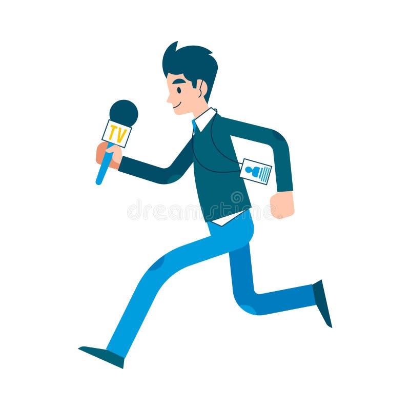 传染媒介人跑与mic的新闻工作者记者 皇族释放例证