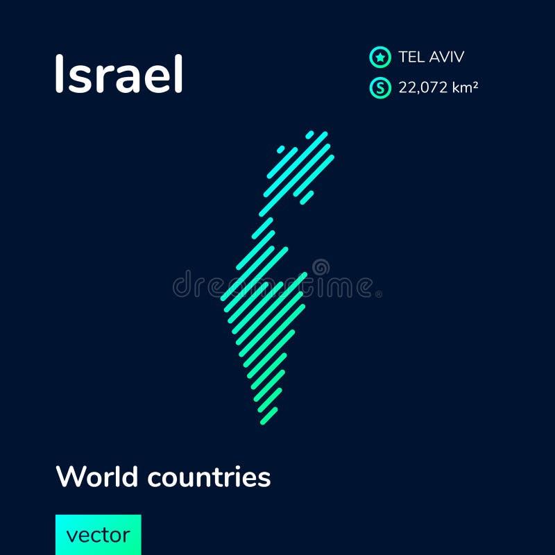 传染媒介以色列的摘要地图 库存例证