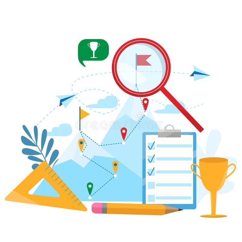 传染媒介企业概念例证goal-setting 成就,事业,到达目标,刺激,成长,领导 皇族释放例证