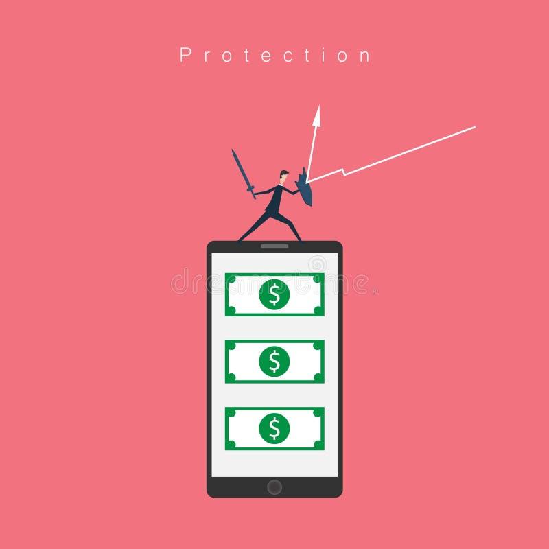 传染媒介企业财务 保护流动银行业务和金钱概念与商人剑和盾象, 向量例证