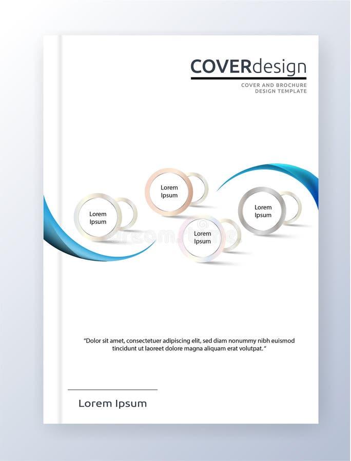 传染媒介传单小册子飞行物模板A4大小设计,年终报告书套布局设计,抽象圈子模板 库存例证