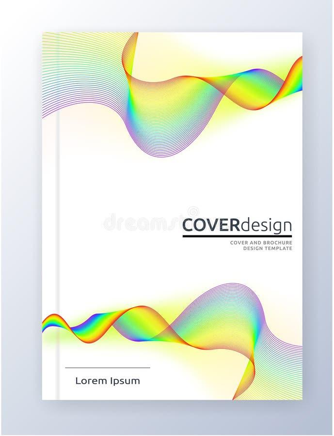 传染媒介传单小册子飞行物模板A4大小设计,年终报告书套布局设计,抽象彩虹模板 库存例证