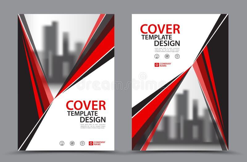 传染媒介传单小册子飞行物模板A4大小设计,年终报告书套布局设计,抽象红色模板 库存例证