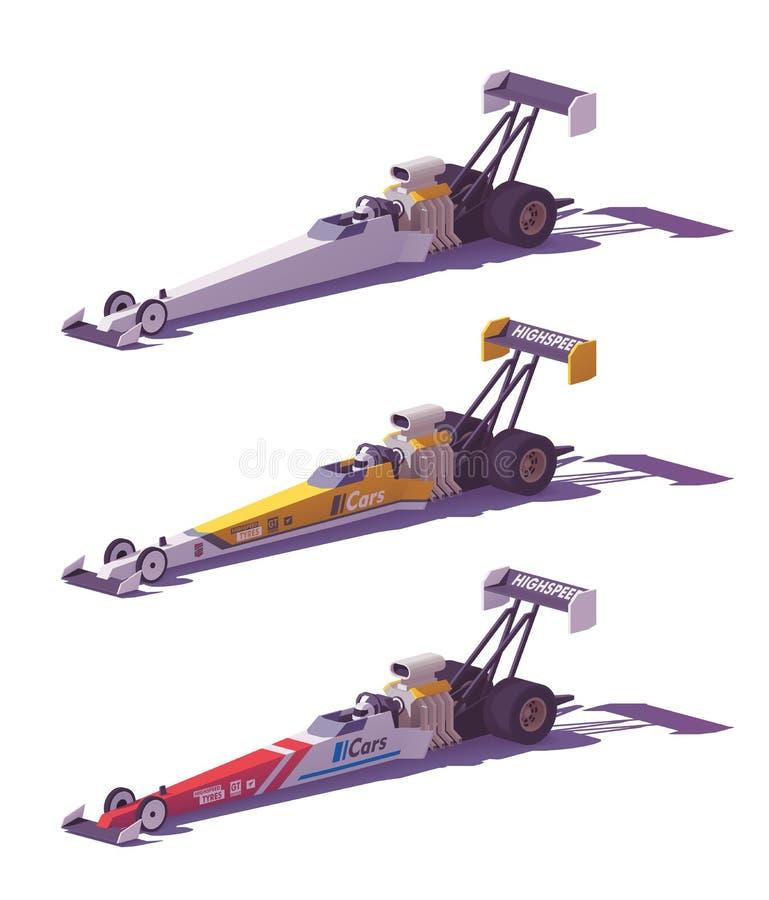 传染媒介低多顶面燃料dragsters 向量例证