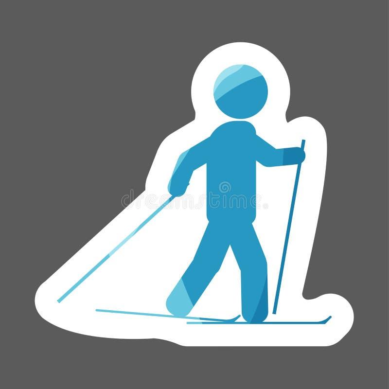 传染媒介体育色的贴纸象 滑雪的运动员 滑雪者象 向量例证