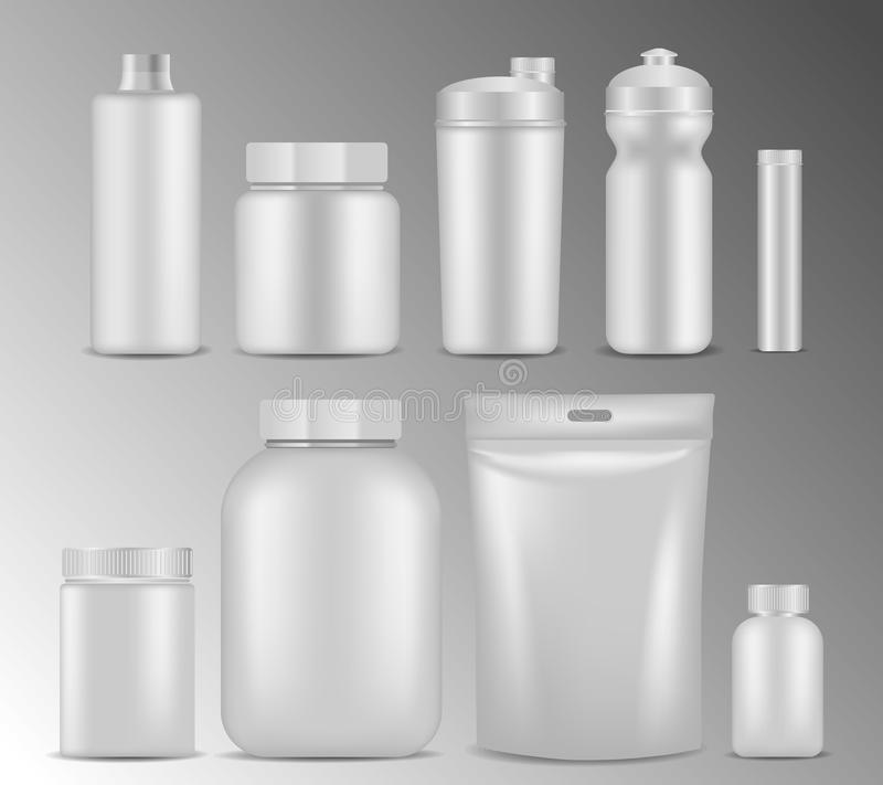 传染媒介体育营养白色容器现实大模型集合 向量例证
